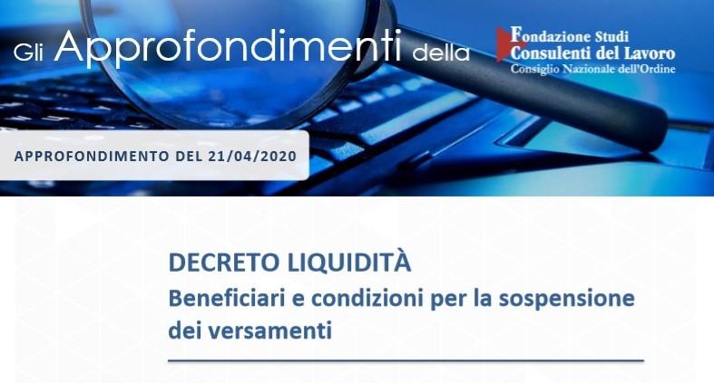 Decreto liquidità - Beneficiari e condizioni